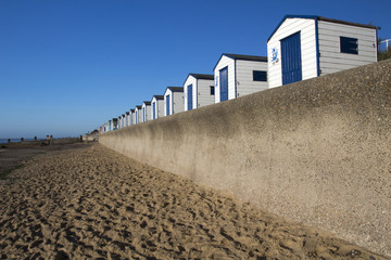Blue and White Beach Huts, Southwold, Suffolk, England