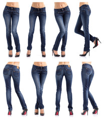 Collection of women's jeans in different poses