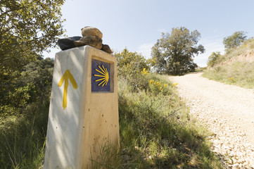 Pilgrim sign at the Camino de Santiago de Compostela in Spain