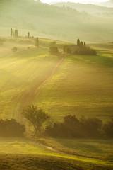 Rural landscape of Tuscany on a hazy sunny morning