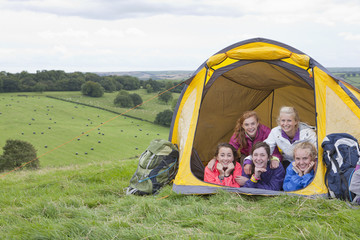 Portrait of smiling friends inside tent in rural field