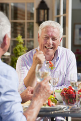 Smiling senior men drinking wine and enjoying lunch on sunny patio