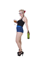 Woman in pin-up dress drinking