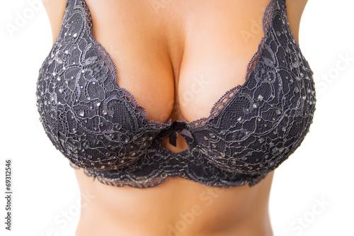 Big breasts in black bra - 69312546