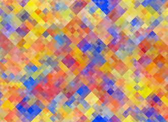 Multicolored square Shapes in Chaotic Arrangement. Holiday bokeh