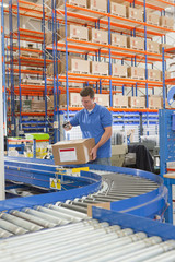 Worker scanning cardboard box on production line in distribution warehouse