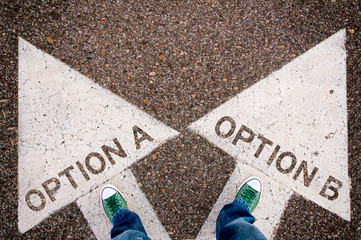 Options a and b dilemma concept