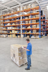 Worker with clipboard standing next to pallet of cardboard boxes in distribution warehouse