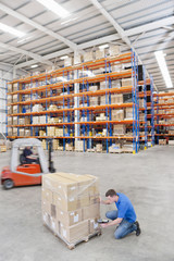 Worker scanning cardboard boxes on pallet in distribution warehouse