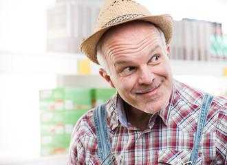 Funny farmer at supermarket