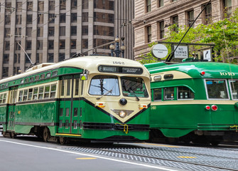 Street of San Francisco with an old fashioned trams