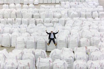 Portrait of enthusiastic businessman sitting on top of large bags of recycled plastic pellets in warehouse