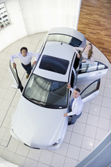 Portrait of smiling salesman and couple leaning on car in car dealership showroom