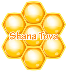 Vector Shana Tova (Happy new year) icon wish with honeycomb