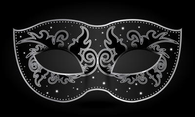 Vector illustration of black mask with silver decorations