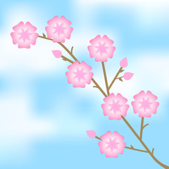 Vector illustration of pink flowers