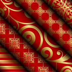 Vector illustration of red fabric / paper rolls with gold decora