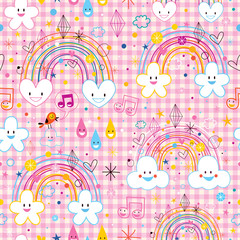 rainbows clouds hearts raindrops seamless pattern