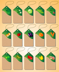 A Set of tags with various vegetables