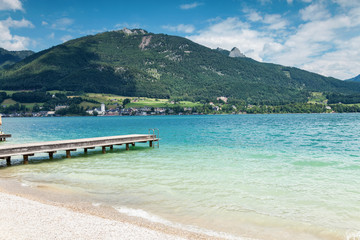 Wolfgangsee lake with turquoise waters in Austria