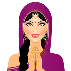Vector illustration of Indian woman smiling