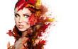 Leinwandbild Motiv Autumn Woman portrait with creative makeup