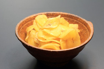 Banana Chips , Fried thin-sliced plantain banana