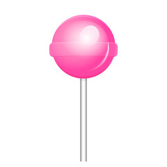 Vector illustration of pink lollipop