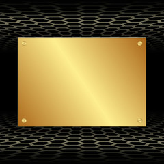 black background with golden plate