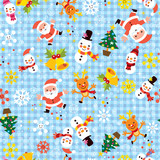 Christmas Santa snowflakes winter seamless pattern