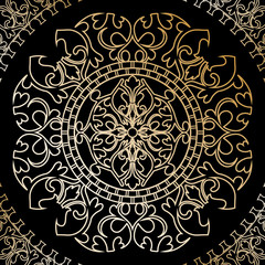 vector illustration of black background with gold ornament