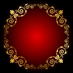 Vector gold floral frame on red background