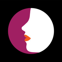Vector icon- abstract face of stylish modern woman