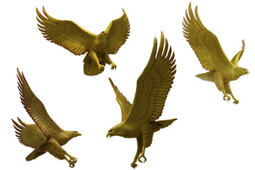 Golden eagles statue with big expanded wings