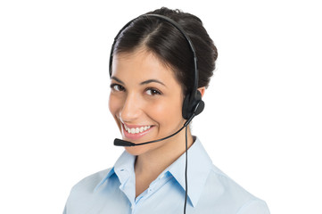 Smiling Operator Wearing Headset