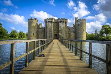 Historic Bodiam Castle and moat in East Sussex