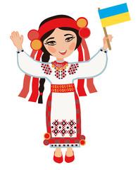 Ukrainian woman with the flag of Ukraine