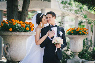 Beautiful bride and groom posing in a yard of a castle