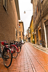 Typical backstreets and passages at downtown of Ferrara