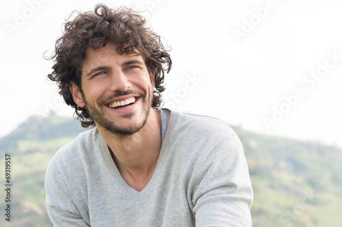Leinwandbild Motiv Portrait Of Happy Laughing Man