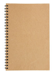 brown notebook cover isolated on white background with clipping