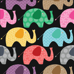 Seamless retro elephant
