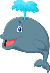 Funny cartoon whale