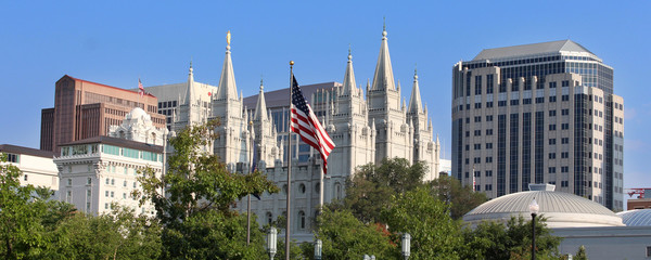 Panorama with Mormon temple in Salt Lake City