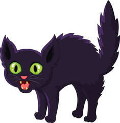 Frightened cartoon black cat