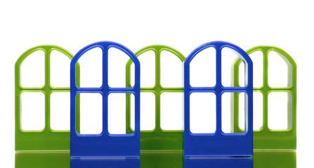 Five transparent door frames