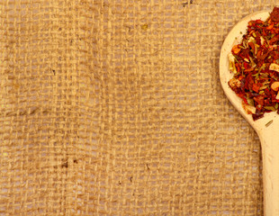 Spices on burlap