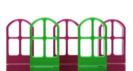 Five purple and green door frames