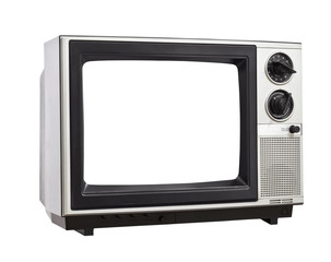 Old Television Isolated with Empty Screen