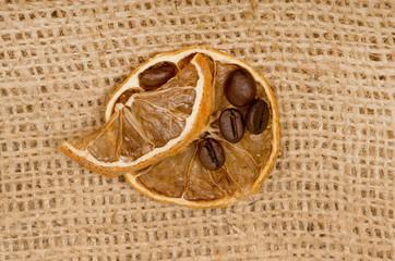 lemons and coffee beans on burlap